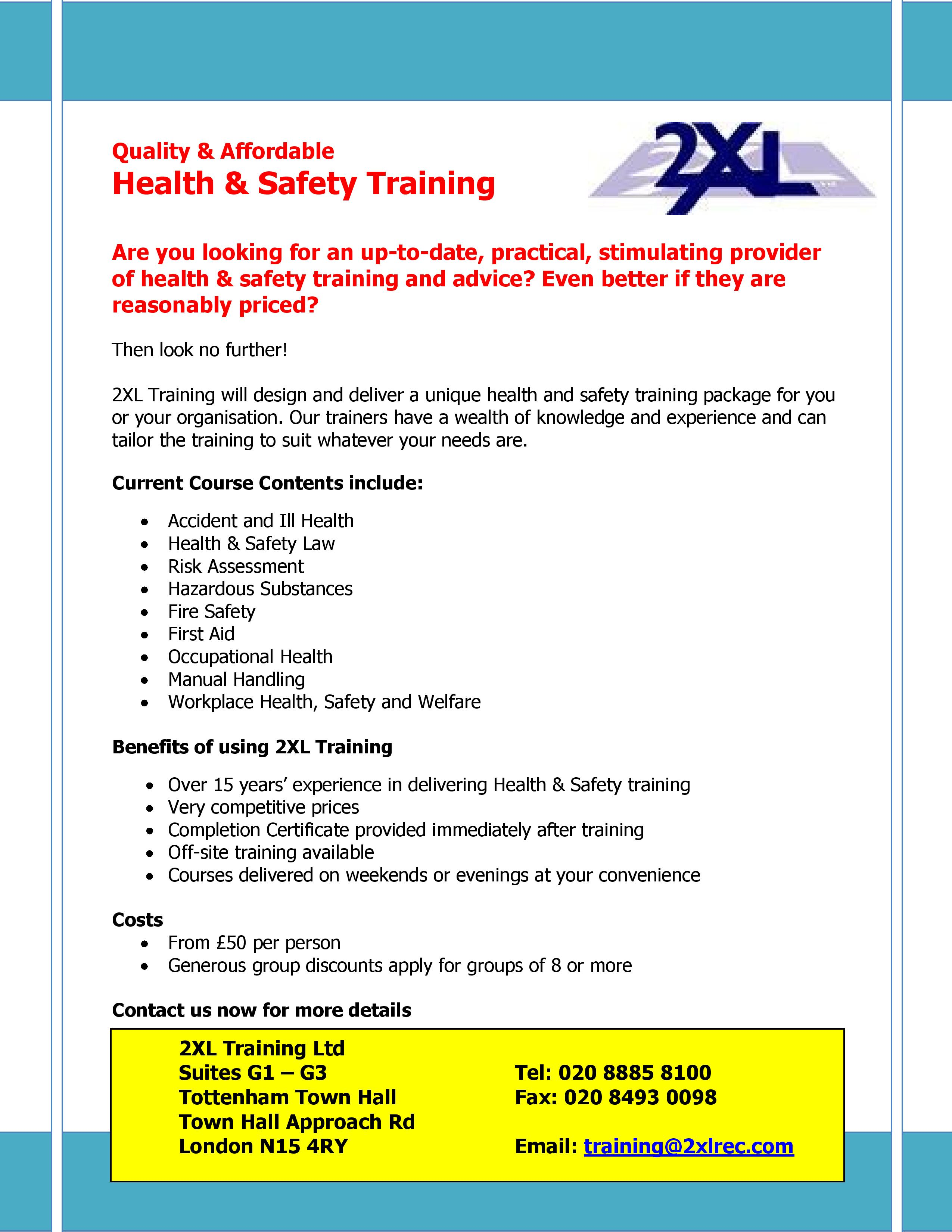 Training quality affordable health safety training bmenational download 1betcityfo Gallery