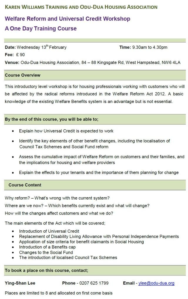 Welfare Reform  Universal Credit Workshop 13Feb13