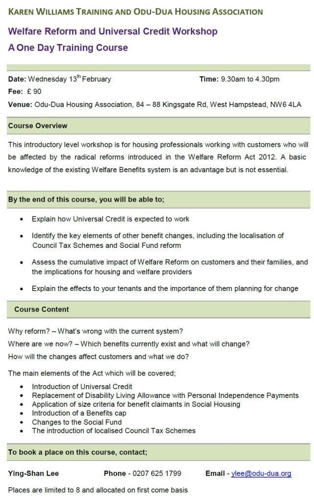Welfare Reform  Universal Credit Workshop 13Feb13