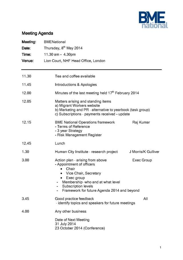 BME National Meeting Agenda 8th May 2014 draft